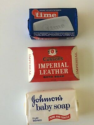 3 Vintage/Retro Soap Bars 1970's- TIME, IMPERIAL LEATHER & JOHNSON'S BABY SOAP