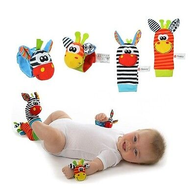HTS 4 x Baby Infant Soft Toy Wrist Rattles Foots finders Developmental Sozzy LAM