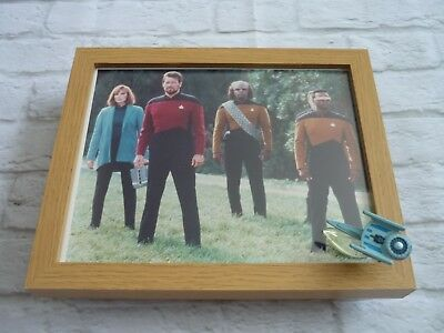 Star trek Framed glossy photo + micro machines spaceship Next generation contact