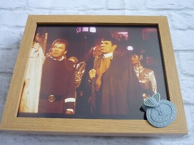 Star trek Framed glossy photo + micro machines spaceship kirk spock