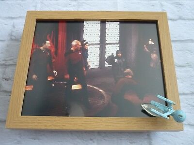 Star trek Framed glossy photo + micro machines spaceship Next generation #1