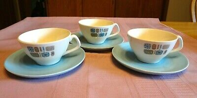 3 VTG Sets CANONSBURG POTTERY Temporama CUPS & SAUCERS Dura-Gloss ATOMIC Blue