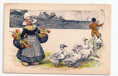 GIRL with FLOWER BOY LEADING GEESE Heavily Embossed PFB Antique Postcard