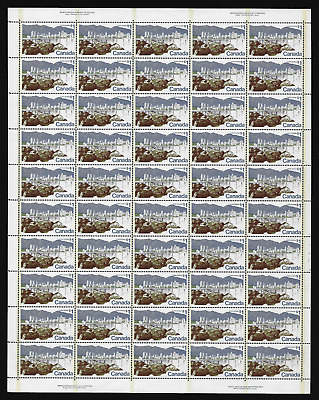 Canada Stamps — Full Pane of 50 (PL 2) — 1973, Landscape : Vancouver #599 — MNH