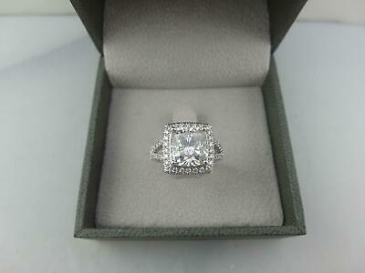 Holiday 4.00 Ct E Vs1 Cushion Cut Diamond Ring 14 K White Gold Real