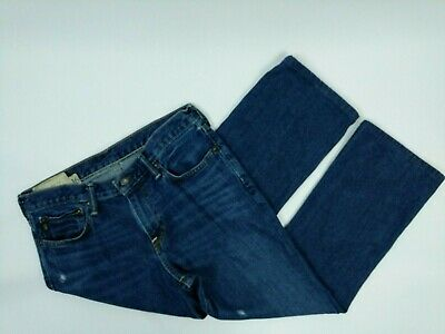 Abercrombie and Fitch Kids Boys The Baxter Low Rise Slim Boot Jeans 16 Blue Torn