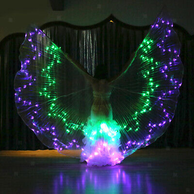 Women LED Luminous Wings Costumes Belly Dancing Light Up Show Isis Wings