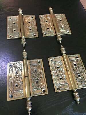 Rare Set Antique Victorian Brass Bronze Eastlake Removable French Door Hinges 7""