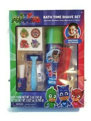 PJ Masks Childs Bath Time 5 Piece Play Pretend Shave Set Tattoos Catboy Owlette