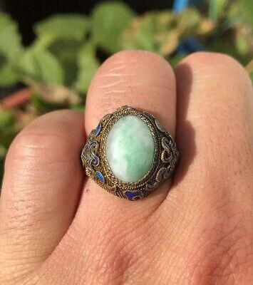 Antique Qing Old Chinese Export Silver & Enamel Carved Green & White Jade Ring