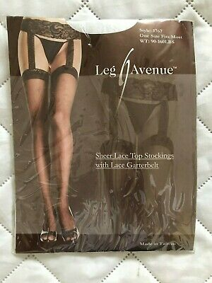 One Size Fits Most Womens Sheer Lace Top Stockings With Attached Lace Garter B2