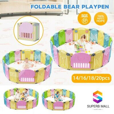 Multi ABST Kids Baby Playpen Interactive Baby Room Safety Gates Foldable Bear