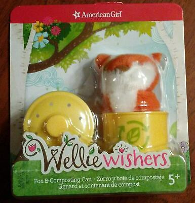 NEW American Girl Wellie Wishers Plush Brown Forest Fox & Composting Can NIP