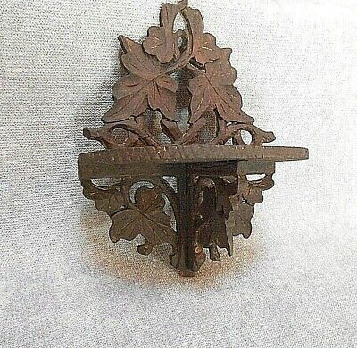 French Antique BLACK FOREST  wall carved WOOD  SHELF