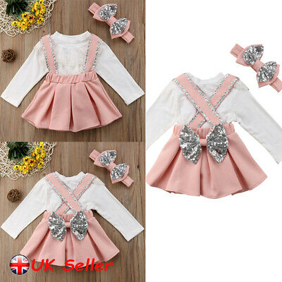 Kids Baby Girls Ruffle Lace Top Tee Bow Tutu Skirt Headband Clothes Sets Outfits
