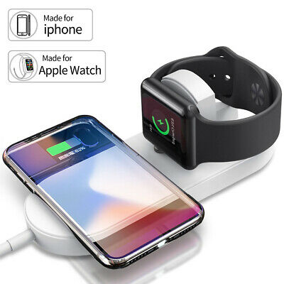QI Wireless Fast Charger Dock For iWatch iPhone XS X 8 8 Plus Sumsang S10 Note 9