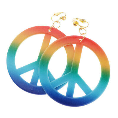 Hipple Style Peace Sign Earrings Large Drop Ear Rings 1960's Hipster Dress