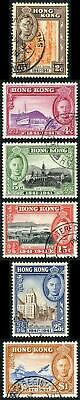 Hong Kong SG163/68 1941 KGVI Set of 6 Very Fine Used