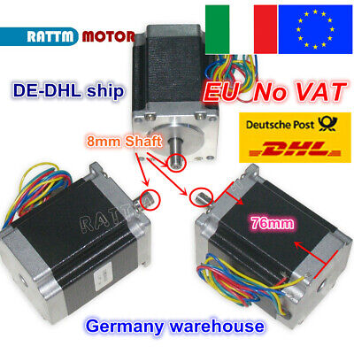 【IT】 3Pcs Nema23 Hybrid Stepper motor single shaft 270oz.in 1.8N.m 3A 76mm CNC