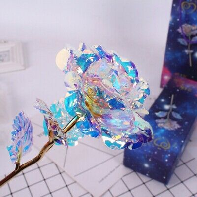 24K Gold Plated Dipped Rose Flower Forever Love Valentine's Day Romantic Gift US