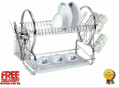 SQ Professional 2 Tier Chrome Dish Drainer Rack with Drip Tray
