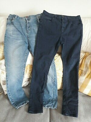 2 pairs river Island skinny jeans age 12 years mid denim/ navy blue