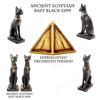 Ancient Black Bast Cat Egyptian Figurine Ethnographic Ornament Egyptian Pyramid