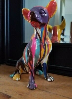 Dog Sculpture Stand Chihuahua Statue Art Collectible Figurine Home Accent Decor