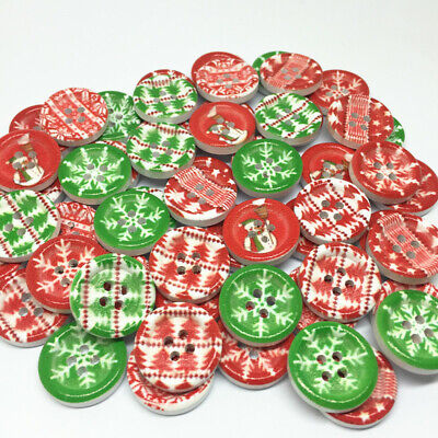 50 x 18mm Christmas 4 Hole Wooden EmbellishmentsButtons Craft Scrapbooking Cards