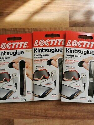 NEW LOCTITE Kintsuglue Flexible Putty Mouldable Glue Shape & Fix Pack of 3 packs