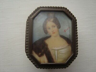 c18 ANTIQUE SIGNED  PAINTED BRASS PILL BOX,SUPERB
