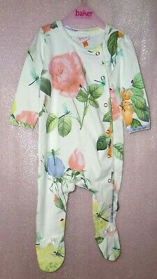 Ted Baker Girls 3-6 Months Floral Babygrow  Night Day Wear With Cute Bows Bnwot