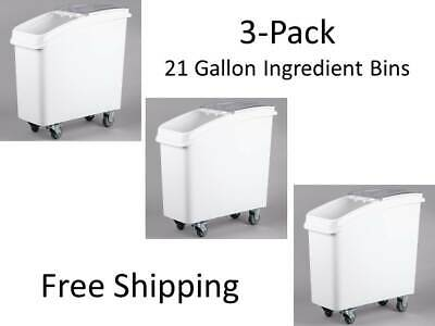 (3-Pack) 21 Gallon White Mobile NSF Restaurant Floor Ingredient Bins with Lids