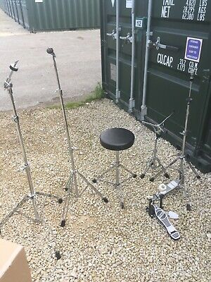 Free P&P Set of Drum Kit Hardware Snare Hi Hat Cymbal Stand Stool Pedal HW909066