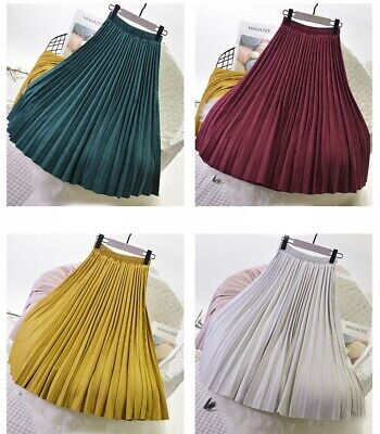 Women Suede Glittery Metallic Accordion Skirt Long Pleated A Line Maxi Skirts