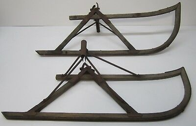 "Primitive Pair Vtg Antique Farm Sled Sleigh Buggy Wood Iron Runners 44"" Winter"