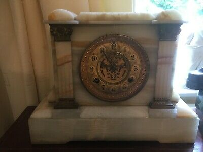 Victorian onyx chiming mantel clock