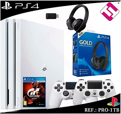 PS4 PLAYSTATION 4 pro 1TB White Controls Headset Gold 7.1 Gran Turismo Gt Sport