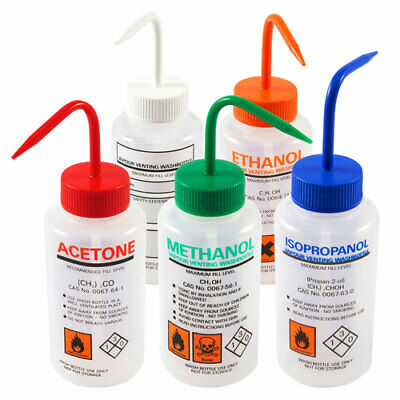 Azlon Solvent Venting Wash Bottle Set, 500mL (Set of 5)