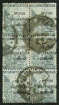 Rhodesia SG58 1896 1/2d opt British South Africa Company Block of 6