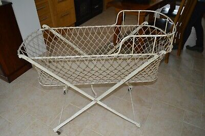 Antique Victorian Folding Crib/Cot, Metal & Cord