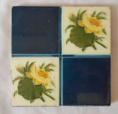 Charming Quadrant Design Sunflower Victorian 6 Inch Tile. 19Th Century