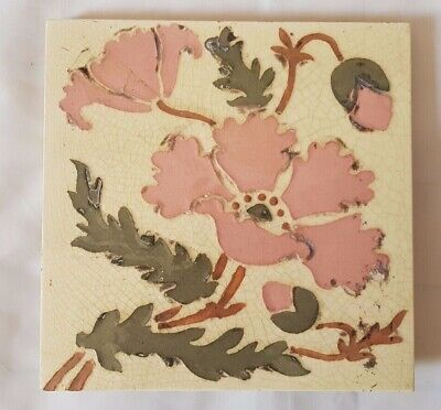 Charming Hand Painted Floral Victorian 6 Inch Tile,  Circa 19Th Century