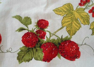 """Vintage 50s Printed Cotton Tablecloth Red Strawberries Cherries Fruit 51"""""""