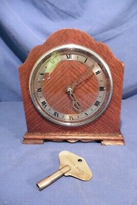 Vintage British Empire De Luxe Small Bracket 8 day Striking Clock - working