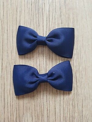 Handmade Girls Small Classic School Navy Blue Hair Bow Clips Sold In Pairs
