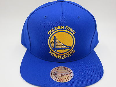 well known great fit new release GOLDEN STATE WARRIORS Wool Solid Blue Mitchell & Ness NBA Retro ...