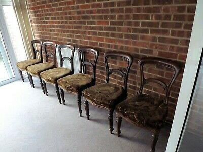 6 x Antique Victorian Balloon Back Chairs - COLLECTION ONLY