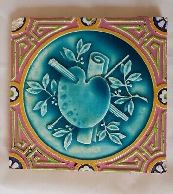 Charming Minton Majolica Victorian Tile  19Th Century