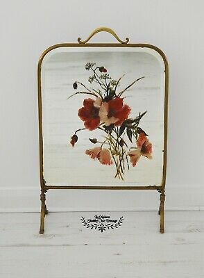French Fire Screen 1930s Brass  Bevelled Mirrored with Hand Painted Flowers